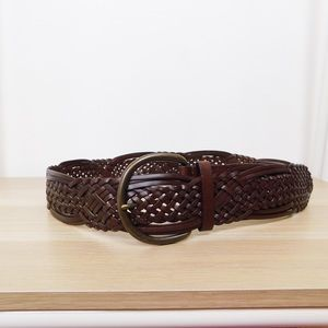 Brown Leather Thick Woven Belt